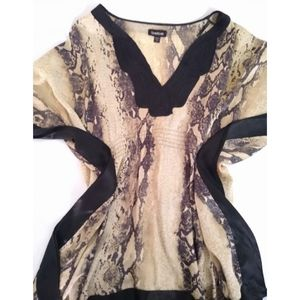 bebe silk snakeskin patterned poncho
